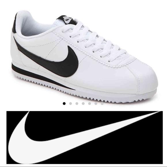 Nike Women s Classic Cortez white w  black swoosh.  M 5aa3f031c9fcdfbcb70f3fe7 a1256e7cd4ca